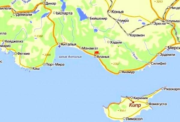 Аланья - географическое положение